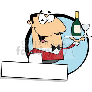 Banner Of A Cordial Male Butler Serving Wine  clipart. Royalty-free image # 379150