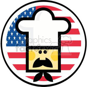 Asian Chef Man Face In Front Of Flag Of USA clipart. Royalty-free image # 379160