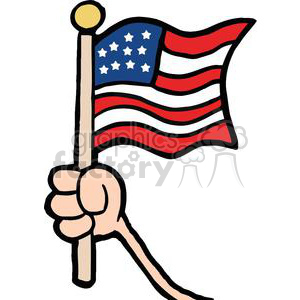 Hand Waving An American Flag On Independence Day clipart. Commercial use image # 379165