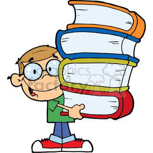 A little Boy In Green T Shirt and Blue Jeans With Books In His Hands clipart. Royalty-free image # 379170