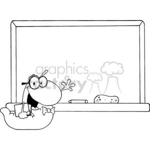 A Waving Bookworm In Front Of Chalk Board clipart. Commercial use image # 379175