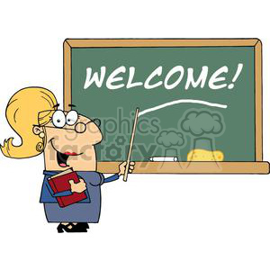 A woman School Teacher In A Dark Blue Dress With A Pointer Displayed On Chalk Board Welcome! clipart. Commercial use image # 379180