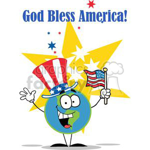 a globe cartoon character with american patriotic hat and flag with red blue white and yellow stars in background