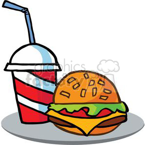 Drink And Hamburger On A Gray Tray clipart. Royalty-free image # 379195
