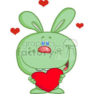 Green Bunny With A Pink Nose Holds A Heart clipart. Royalty-free image # 379200