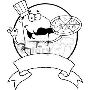 vector cartoon funny black white pizza chef cook food fast restaurant mascot