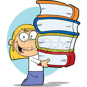 A little Girl In White Shirt and Blue Skirt Holding Books clipart. Commercial use image # 379215