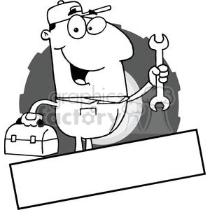 Mechanic Man With A Tool Box And Wrench With Banner At The Bottom clipart. Royalty-free image # 379225