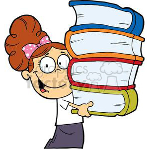 Girl With Books In Their Hands On A White Background clipart. Commercial use image # 379230