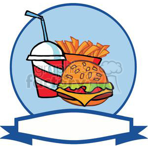 hamburger french fries and drink with a blue and white banner
