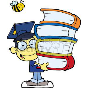 Graduation Asian Boy With Books In Their Hands clipart. Commercial use image # 379250