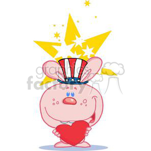 Patriotic Pink Bunny Holds Heart clipart. Commercial use image # 379255