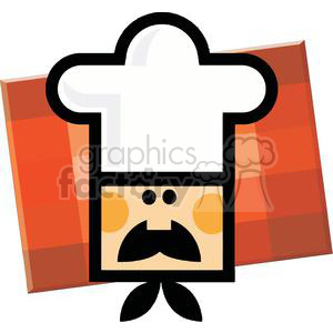 Chef Man Face Over Red Checkered Square