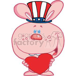 A Sweet Patriotic Pink Bunny Holds Heart clipart. Commercial use image # 379270