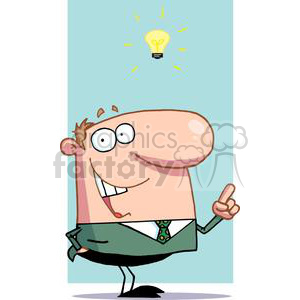 Businessman Has Light Bulb Moment In Front Of A Light Blue Background clipart. Royalty-free image # 379275