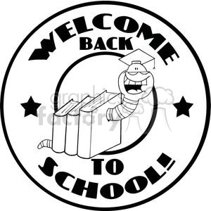 Bookworm In A Graduation CapWith Text Back to School! clipart. Commercial use image # 379285