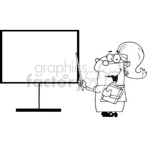 A Women Teacher In Glasses With A Pointer Displayed On The Dashboard clipart. Royalty-free image # 379295