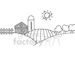 Country farm with the sun