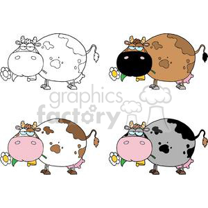 Cartoon Character Cows Different Color Set clipart. Commercial use image # 379325