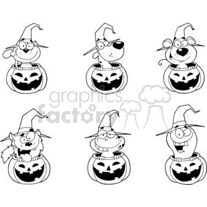 cartoon halloween characters set