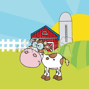 Cartoon Character Calf Different Color White In Front Of Country Farm clipart. Royalty-free image # 379335