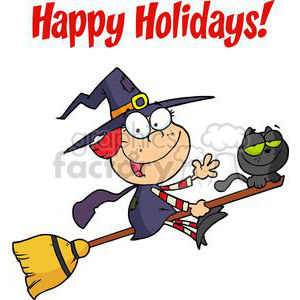Happy holidays, witch on a broom with a cat