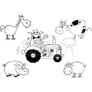 farm animals cartoon characters and farmer in tractor