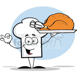 Cartoon Chefs Hat Character Holder Plate With Turkey clipart. Commercial use image # 379350