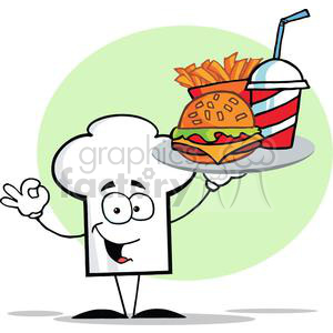 Cartoon Chefs Hat Character Holder Plate Of Hamburger And French Fries clipart. Royalty-free image # 379355