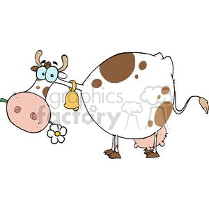 Cartoon Character Cow Different Color White