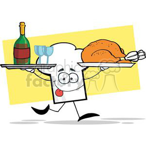 Cartoon Chefs Hat Character Running With Tray Of Wine And Plate With Chicken clipart. Royalty-free image # 379375