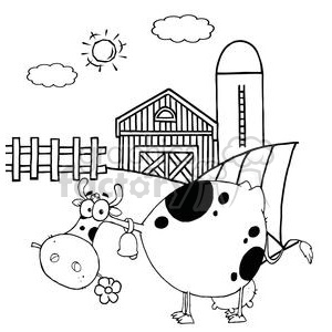 Cartoon Character Cow Different Color BW In Front Of Country Farm