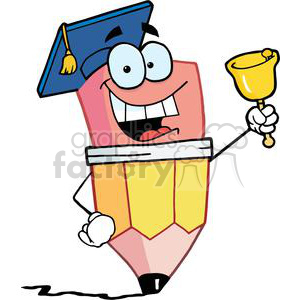 Graduate Pencil Cartoon Character Ringing A Bell clipart. Royalty-free image # 379385