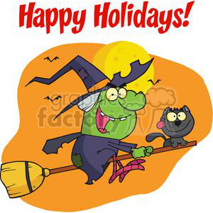 Happy Holidays Greeting With Harrison Rode A Broomstick with A Cat clipart. Commercial use image # 379390