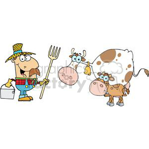 Male Farmer Calf And Cow clipart. Royalty-free image # 379395