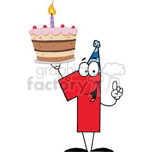 Number One With Birthday Cake And One Candle Lit clipart. Royalty-free image # 379400