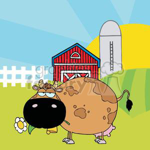 Cartoon Character Cow Different Color Brown In Front Of Country Farm clipart. Commercial use image # 379405