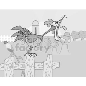 Country Farm Scene With Rooster Crowing Of The Rising Sun clipart. Commercial use image # 379410