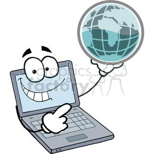Laptop Cartoon Character Holding A Globe clipart. Commercial use image # 379425