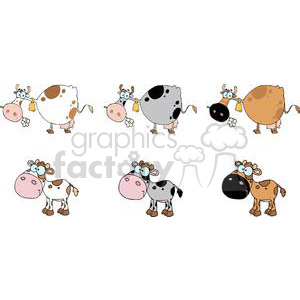 Cartoon Characters Cows And Calf Different Color Set