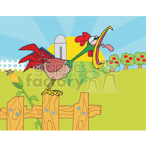 Country Farm Scene with Rooster crowing of the rising sun clipart. Commercial use image # 379435