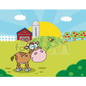 Country Farm Scene with Cute Baby Calf watching a flying bee clipart. Commercial use image # 379440