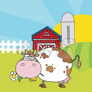 Cartoon white and brown cow in front of farm scene holding a flower in mouth