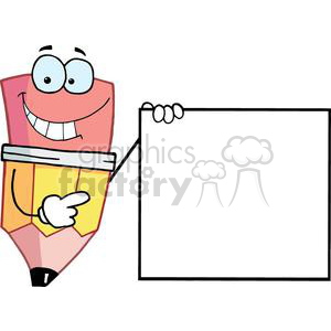 Pencil Cartoon Character Presenting A Blank Sign clipart. Commercial use image # 379455