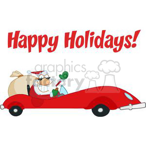 Holiday Greetings With Santa Claus clipart. Royalty-free image # 379460