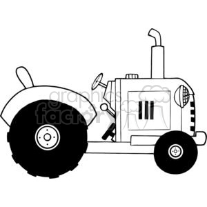 Vintage Farm Tractor BW clipart. Commercial use image # 379470
