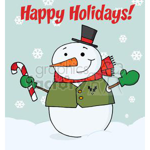 Holiday Greetings With Snowman clipart. Royalty-free image # 379480