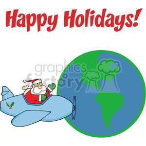 Holiday Greetings With Santa Claus clipart. Royalty-free image # 379485