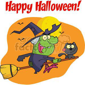 Happy Holidays Greeting With Harrison Rode A Broomstick With A Cat clipart. Royalty-free image # 379490