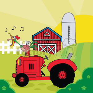 country farm scene with rooster crowing of the rising sun in vintage tractor